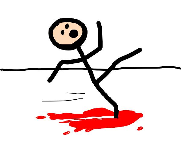 Somebody slipping on blood