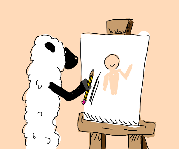 Very skinny sheep drawing a human