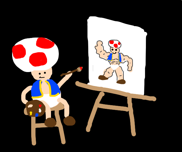 toad (from mario) draws a self portrait
