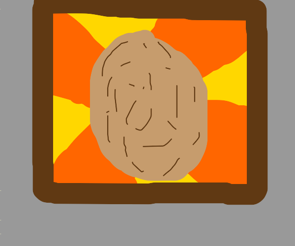 a framed painting of a potato