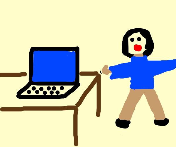 Man yells at his computer's Bluescreening