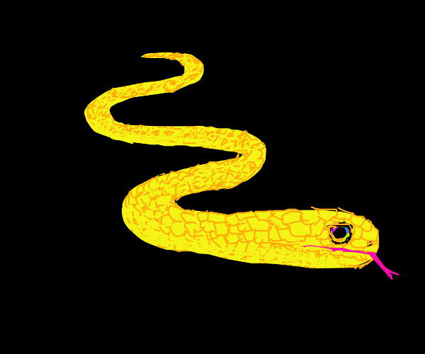 Yellow snake with multicolor eyes