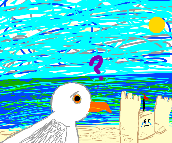 seagull curious about sad castle