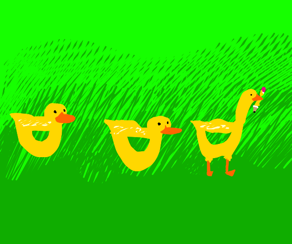 Drawception goose trying to fit in