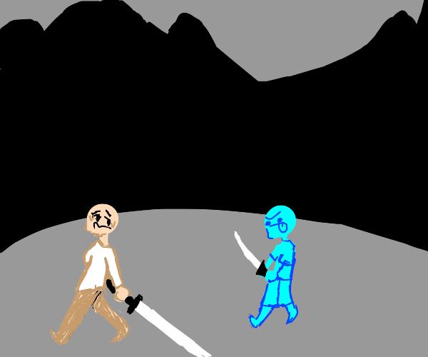 man w/ too heavy claymore vs derp w/ sword