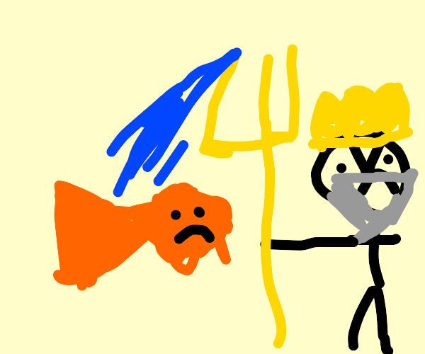 Poseidon curses fish.