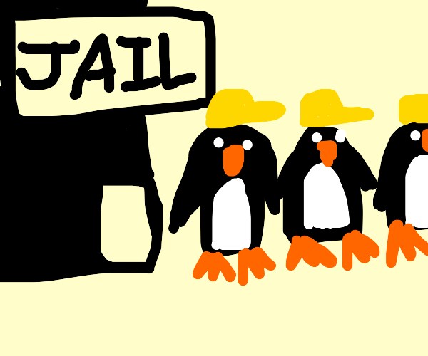 penguin workers escaping from jail