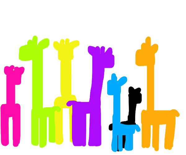 8 colourful giraffes stand close together