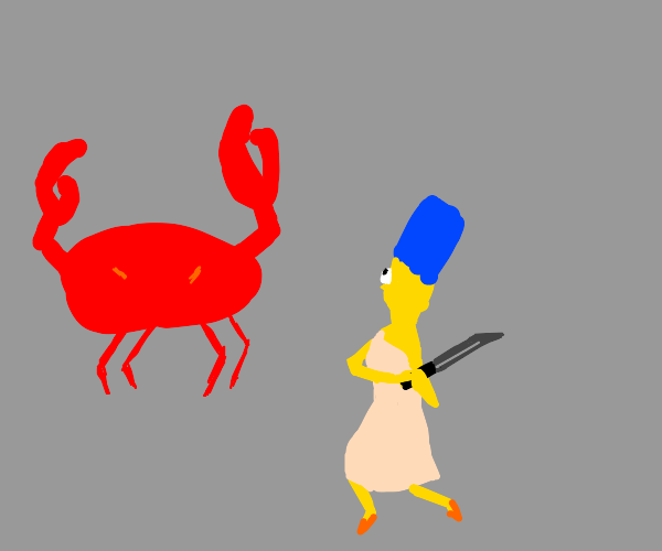 marge simpson fights big crab