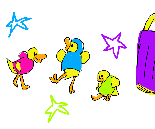 Duck trys on different colored hoodies
