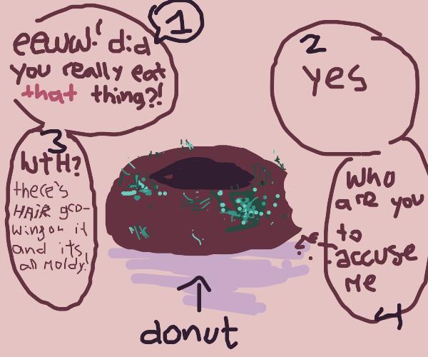 purple, moldy donut