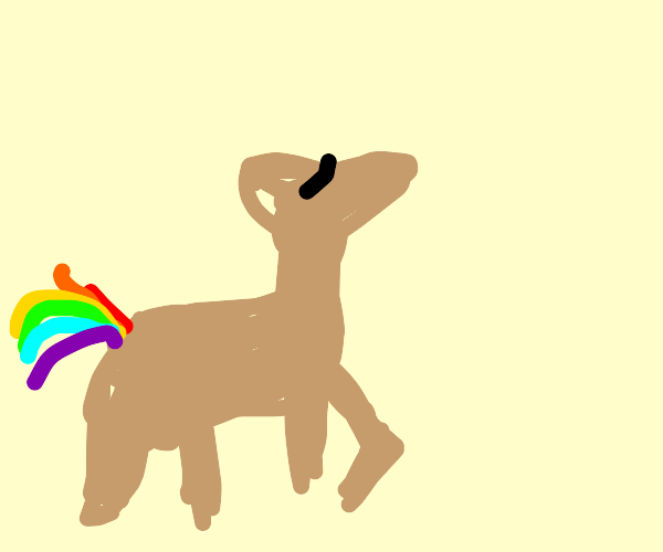 Blindfolded deer with a rainbow tail