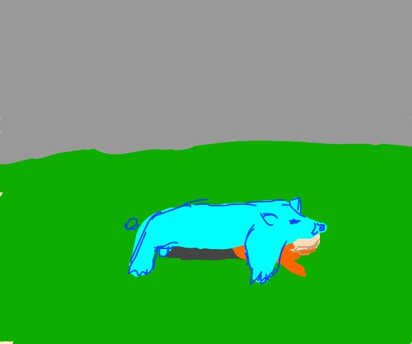 blue giant pig hugging a man