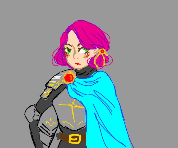 pink hair anime girl wearing armor