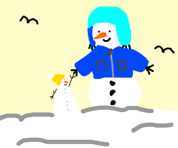 snowman with blue jacket and hat