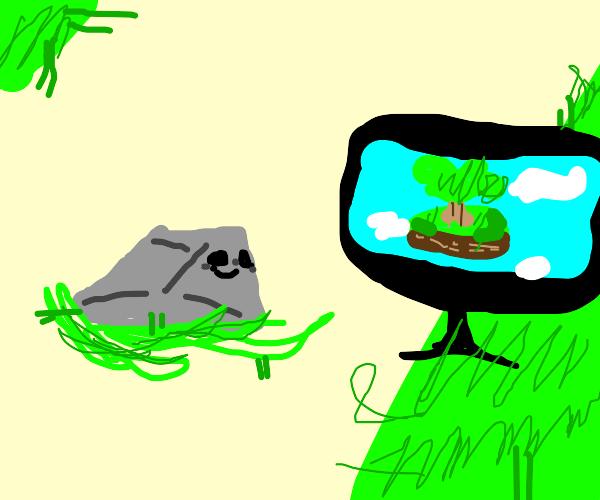 A green rock watches an island on tv