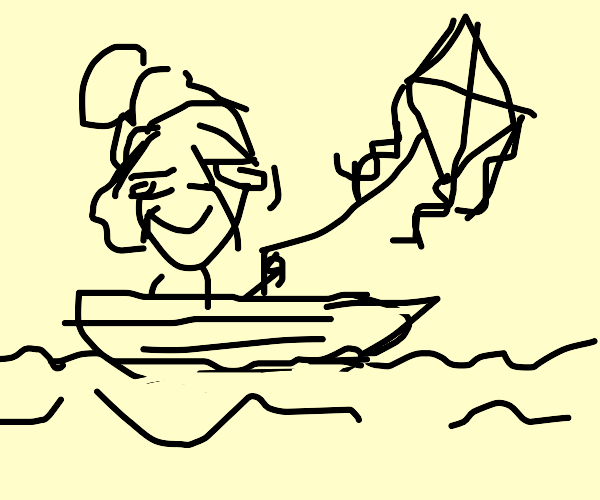 Old lady sailing using a kite