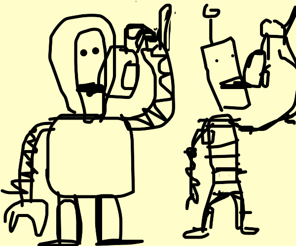 cyborg drinks tea