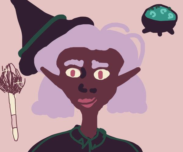 cute dark-skin witch w/light purple shorthair