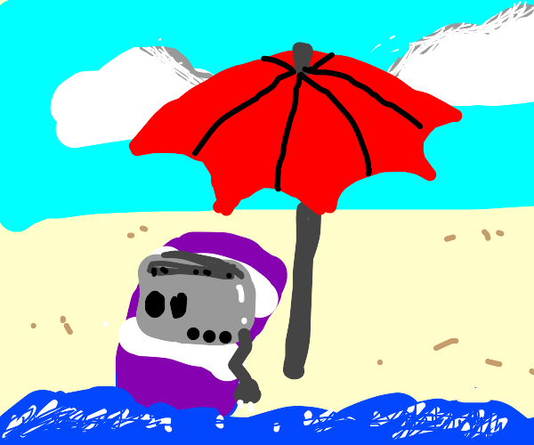 toaster on a beach