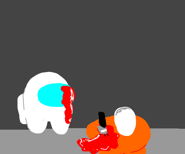 white is covered in orange's blood