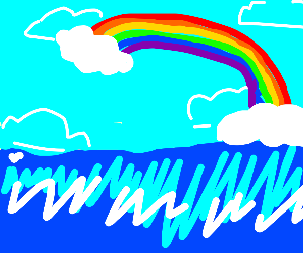 a rainbow and two clouds over an ocean