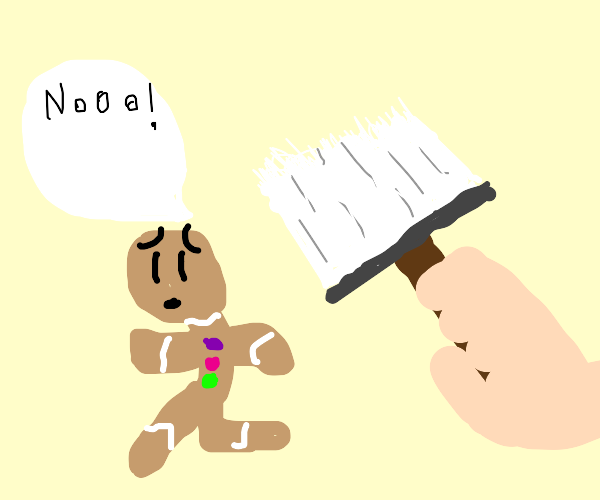 Gingerbread man doesn't want to be painted