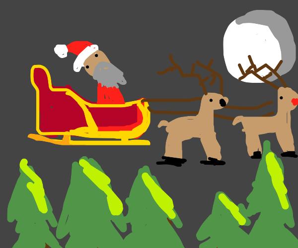 Santa flying in night sky in his sleigh