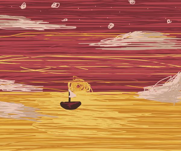 boat sailing away at sunset