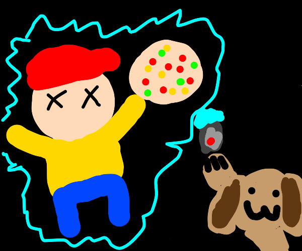Sad pizza sauce man electrocuted by puppy