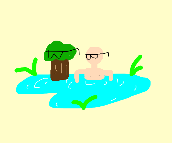 Cool man and tree chill in pool