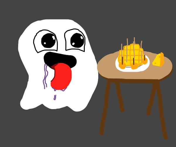 """""""yum cheese!""""- white ghost thing"""