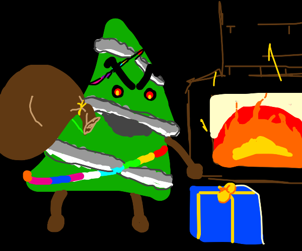 Evil christmas tree steals the presents