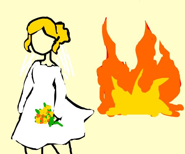Bride walking away from a fire