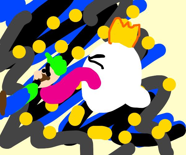 King boo licking a bit surprised Luigi