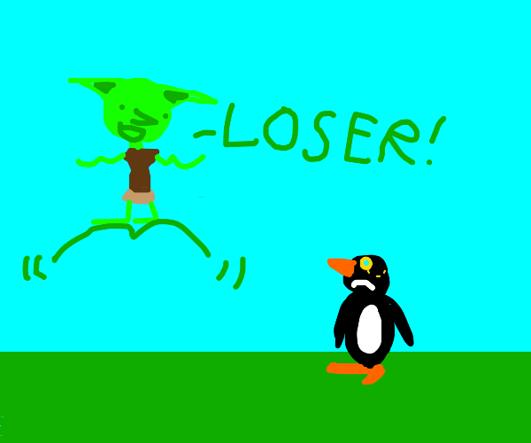penguin gets bullied by goblin