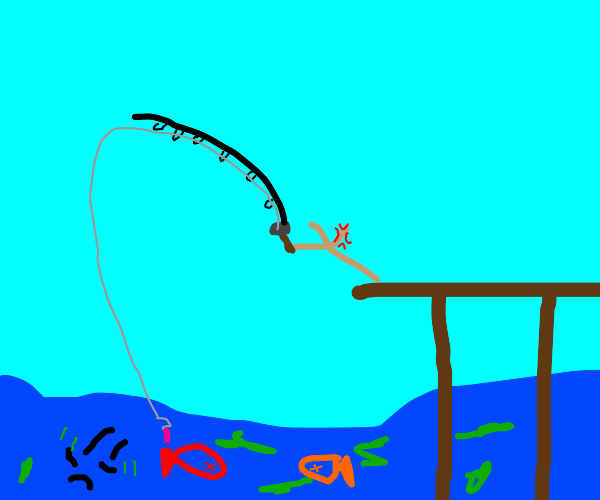 stick is attempting to fish in depressed pond
