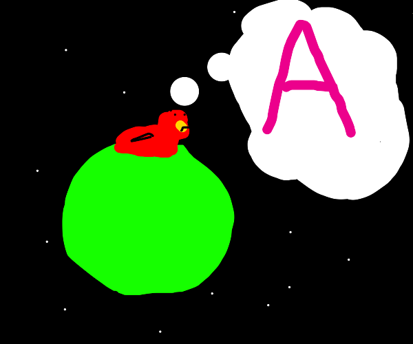 Bird on green sphere in space wishes he had a