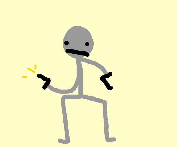 gray man with 2 guns