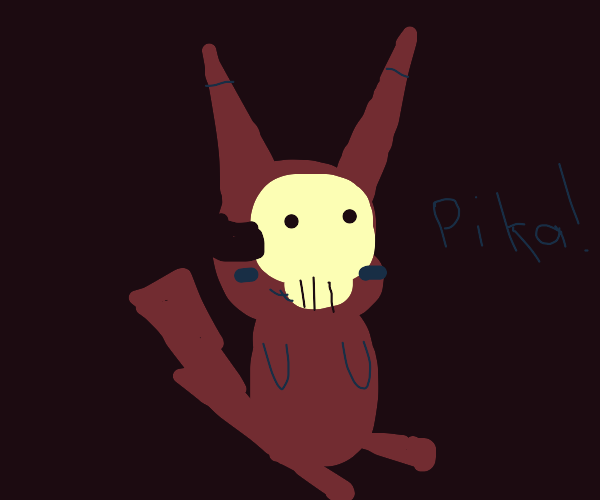 Demon Pikachu wears a skull mask