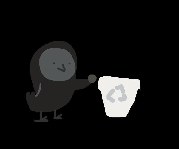 owl recycling a quarter