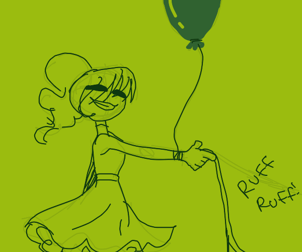 Girl With Balloon Walks Dog (wholesome)