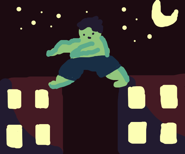 The Hulk leaps from building to building