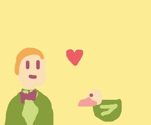 Marriage between a man and a green duck