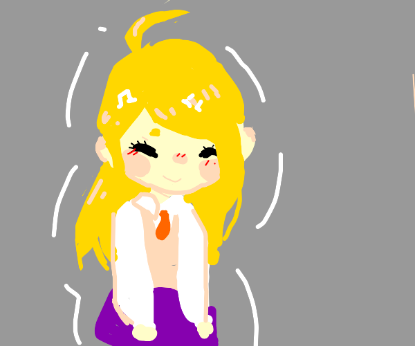 happy chibi blonde anime girl