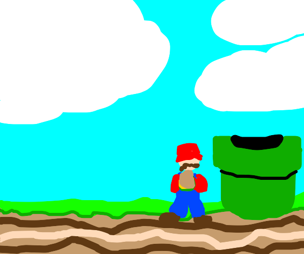 mario sits by pipe eating something tan