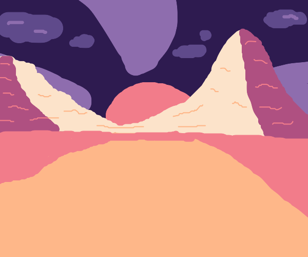 Scenic mountain range in desert at sunset