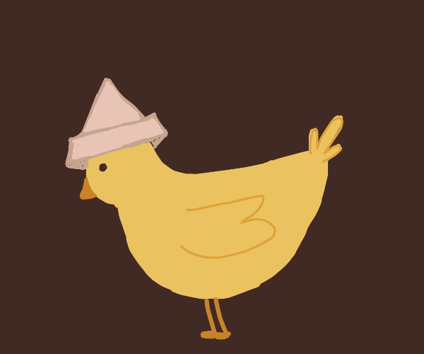 Baby duck with paperboat hat