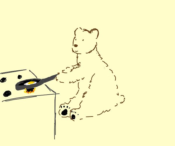 Bear is frying an egg