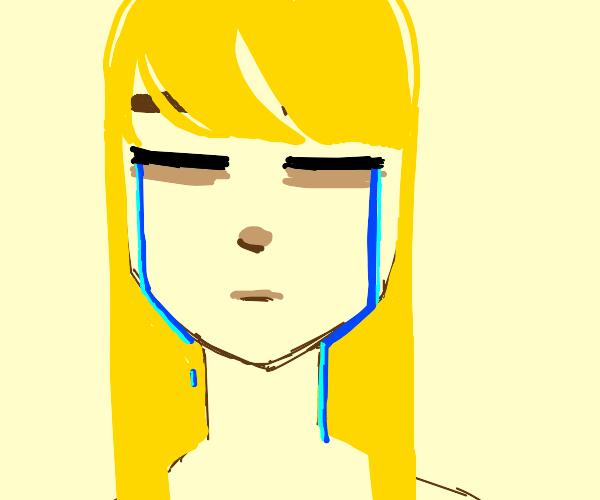 sad blonde kid